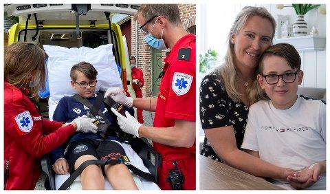 SKUMMELT: – Hjelmen reddet trolig livet til sønnen min, sier Anja Stenslette. Adrian (13) ble hentet av ambulanse etter å ha kræsjet på sykkel.