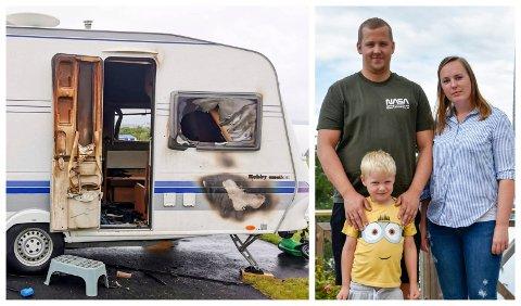 I SJOKK: Familien fra Krokkleiva i Hole måtte avbryte ferien. De mistet mange eiendeler i en brann i campingvogna. Nå advarer de andre på campingferie.