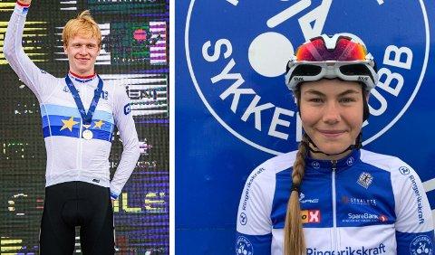 SYKLISTER: Andreas Leknessund (21) og Martine Gjøs (20) sykler for Ringerike sykkelklubb. De skal begge sykle VM i Italia.