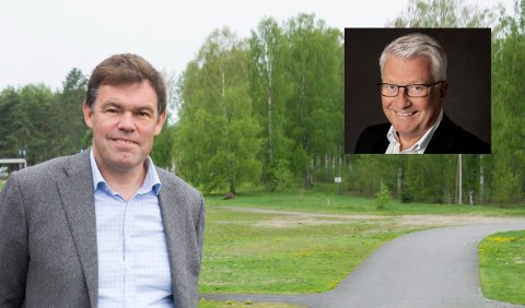 ERSTATNING: Bjørn Tore Skaug i Coop og eiendomsutvikler Frederik Skarstein vil tilby erstatningsboliger på Svensrud til innbyggere som må flytte.