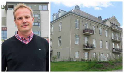 NYE LEILIGHETER: Anders Bjerke i Lier Hageby Eiendomsselskap, et datterselskap av Hønefoss Eiendom, vant byggeprisen for arbeidet med dette gamle sykehus-bygget, som nå har blitt til leilighetsblokk.