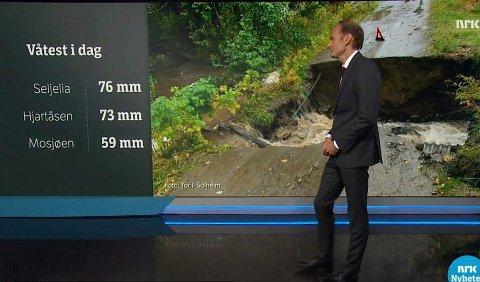 Meteorolog Terje A. Walløe  - kjent fra værmeldingen på NRK - har flere forklaringer på hvorfor det kan være så store lokale nebørsvariasjoner som i helga. Her en faksimile fra TV-skjermen 20 september da det også falt store nedbørsmengder over Norge.