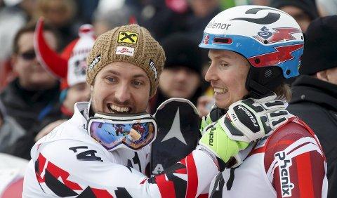 – USLÅELIG: Marcel Hirscher (til venstre) mener at Henrik Kristoffersen i den formen han er nå nesten er uslåelig.