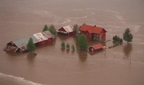 FORRIGE STORFLOM: En gård på Bjølst i Heradsbygd sør for Elverum under flommen i 1995. Foto: NTB scanpix