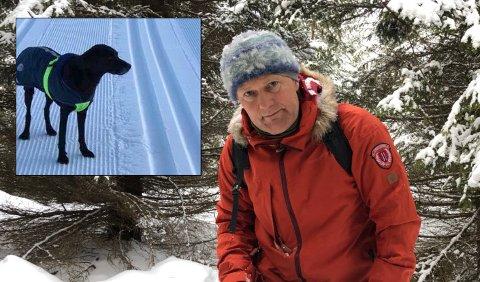 Kalle Blindheim trenger hjelp for å finne Ricki etter at hun ble truffet av en skiløper i stor fart og stakk til skogs. FOTO: PRIVAT