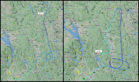 MINST TO: To fly, ett fra Norwegian og ett fra SAS har lettet fra Gardermoen på vei mot Arlanda i Stockholm i ettermiddag. Begge har snudd og er på vei tilbake til Gardermoen i skrivende stund. FOTO: FLIGHTRADAR24
