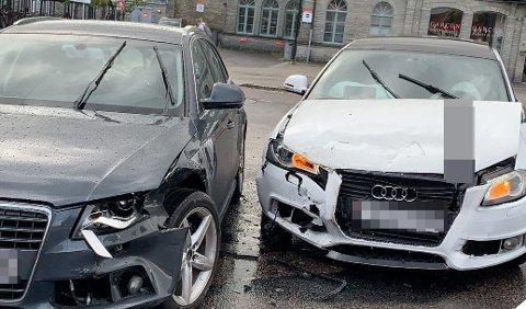 UHELL: Disse to bilene var torsdag ettermiddag involvert i et trafikkuhell i Lillestrøm sentrum.