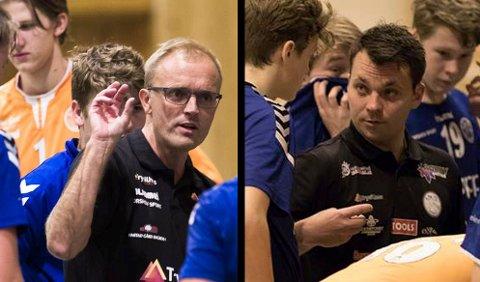 Trenerne Kent-Harry Søberg og Petter Laheld har begge stor suksess med håndballlagene sine.