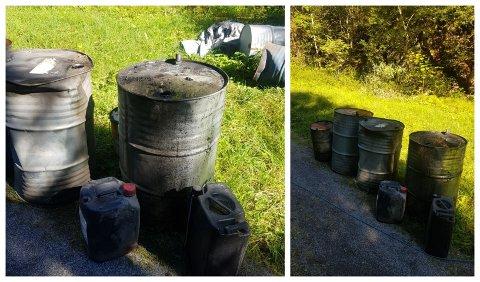 DUMPET SPILLOLJE: Det man tror er nærmere 1000 liter med spillolje ble funnet av en turgåer i Hanekleiva.