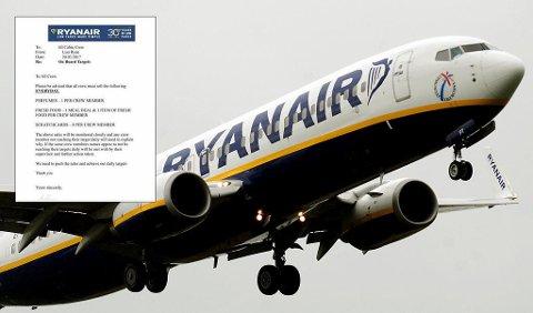 TRUER KABINANSATTE: I en e-post som skal være sendt ut til alle kabinansatte i Ryanair trues det med konsekvenser om ikke salgstall holdes oppe under flyvninger. De blir også nøye overvåket for å sikre dette. Foto: NTB Scanpix/skjermdump