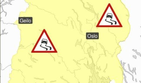Melder vanskelige kjøreforhold i Indre Østfold.