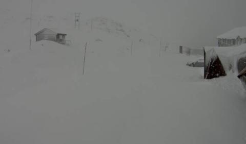 Det er snødekke på Sognefjellet søndag morgon og fjellovergangen er stengd. (Foto: Statens vegvesen)