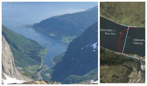 UTFORDRINGAR: Bru over Esefjorden er under planlegging. I dette arbeidet har det kome fram at fjordarmen byr på fleire utfordringar.