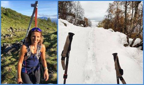 SKI HEILE ÅRET: Jorunn Kristin Aa Albretsen går på ski heile året. Fotoet til venstre er frå sommarleg føre mot Blåfjell i august. Til høgre vekas føre i Sogndalsdalen.
