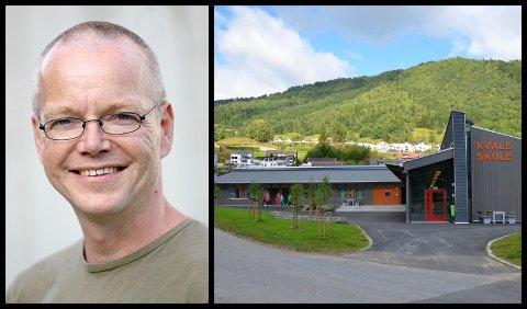 STORE ELEVKULL: Snart blir fire parallellar vanleg i sentrumsskulen i Sogndal. Steinar Øydvin og Utdanningsforbundet dreg i gang prosessen med skulestruktur på møte komande veke.