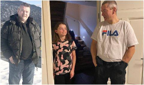 EIT LETTARE LIV: Julie Vadseth (11) har fått ein lettare pappa det siste året, då Vidar Vadseth har kvitta seg med heile 30 kilo sidan 1. januar i fjor. – No står eg og knyter skoa. Før måtte eg setja meg ned, på ein slik gamal stol eg hadde nede i gangen, seier han.