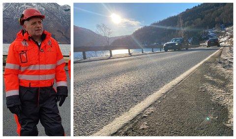 ASFALT: Asfalten på strekninga vart fresa ned alt i 2019. No gjer prosjektleiar Oddvin Hov seg klar til å fullføra arbeidet.