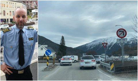 KAN BLI DYRT: Det kan kosta deg dyrt om du svingar til venstre på feil tidspunkt i dette krysset i Sogndal. –Det forenkla førelegget er på 5850 kroner, seier regionlensmann Magne Straumstein.