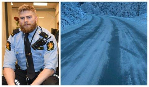 SNØKAOS: Snøfallet natt til fredag skapte trøbbel på strekninga Sogndal- Hafslo. Louis Aleksander Skjæret Anda frå politiet rykte ut- og fekk meir å gjera enn planlagt.