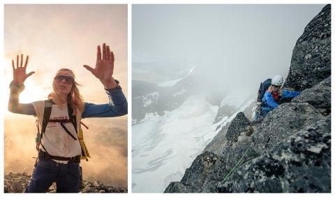 KALD: Då Røtterud kom ned på første avsats under Store Skagastølstind, var ho så kald at ho hadde problem med å stå i ro. Så der enda ein lang dag i fjellet.