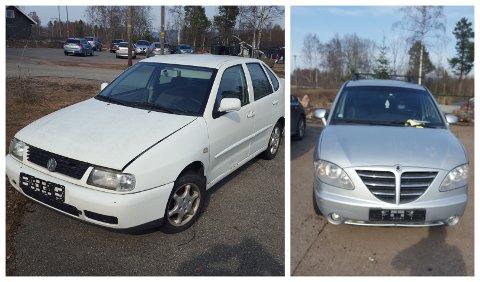 Disse to bilene står forlatt på parkeringsplassen til Ebbestad barnehage. Nå søker FAU etter eierne/eieren.