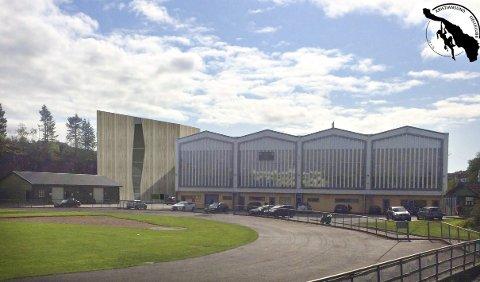 SLIK KAN DET BLI: Den planlagte klatrehallen er plassert vegg i vegg med Idrettshallen.