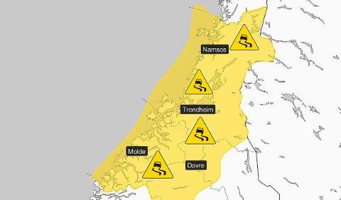 Brrrr ... Det gule på kartet viser hvor det kan komme sludd og snø. Illustrasjon: Meteorologene