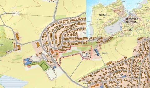 SENTRAL BELIGGENHET: Planområdet er nært både  barnehage, skole og Levanger sentrum. Området har avkjøring fra Gjemblevegen sammen med Farmen menighetsbarnehage.