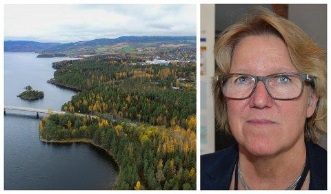 UTSETTER AVGJØRELSE: Administrerende Alice Beathe Andersgaard i Sykehuset Innlandet informerer om at avgjørelsen om Mjøssykehuset skal bygges ved Moelv (bildet) eller på Biri, blir utsatt.