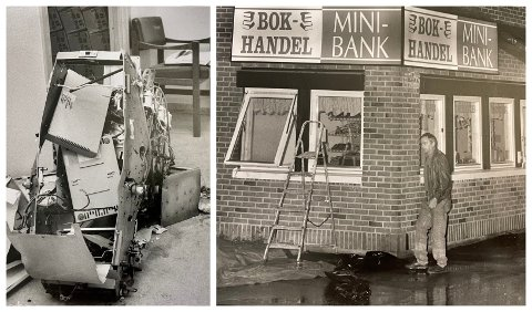 SPRENGT: For 30 år siden ble minibanken på Roa sprengt. Dete synet møtte førstebetjent Tor Åge Rønningen ved Lunner lensmanskontor.