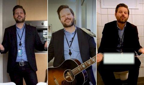 MUSIKKVIDEO: Med en god blanding av sang og humor presenterer Dag Erik Oksvold leiligheten på unikt vis.