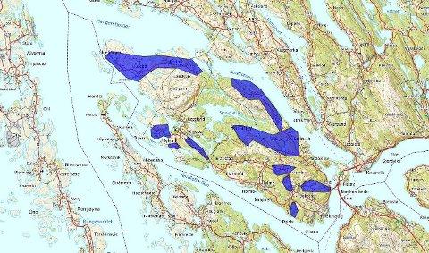I desse områda på Holsnøy skal breibandsutbygginga starte om ikkje lenge.