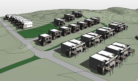 Slik ser arkitektene for seg det nye boligfeltet. Illustrasjon: Casa Consult