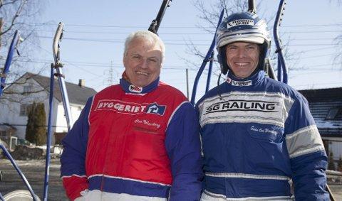 Far og sønn Ove (t.v.) og Svein Ove Wassberg har i en årrekke dominert travsporten i vest. Lørdag får senior sitt eget æresløp. (Foto: Hesteguiden.com)