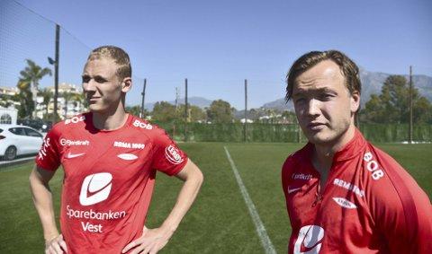 Fredrik Haugen (t.h.) og Kristoffer Barmen startet på benken mot Rosenborg sist, men er med fra start mot Bodø/Glimt fredag. Slik kan det også bli når alvoret starter, for Brann har seks mann til tre sentrale midtbaneplasser!