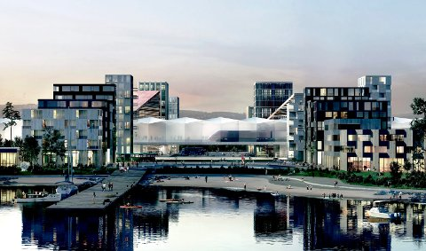 LOOK TO LIERSTRANDA: Årets fjordkonferanse holdes på den nye sykehustomta på Brakerøya. Den planlagte Fjordbyen står på programmet.
