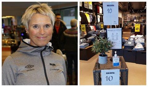 NYE TILTAK: Måndag 4. januar slo nye koronareglar i kraft. På Elvetorget i Førde har dei innført nye reglar for kor mange som kan vere seg i butikkane.
