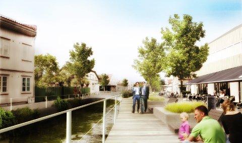 Vakkert og velholdt. Slik lover planene er at det skal bli langs den nye kanalen på Holmen. Arne Brunstad tviler på at det blir slik i lengden, og er ikke redd for å beklage dersom han tar feil. (Illustrasjon: Norconsult)
