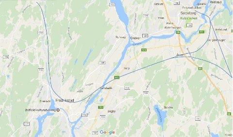 Skisse til dobbeltspor mellom Fredrikstad og Sarpsborg.