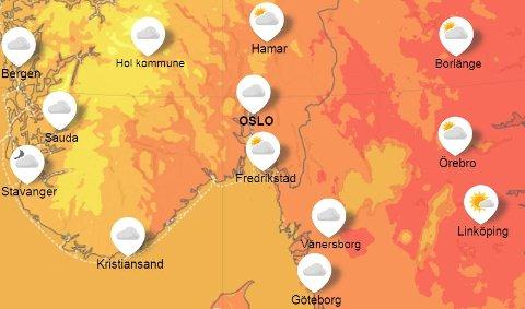 Mer vekslende: utover i uken må man regne med skiftende vær og lavere temperaturer.