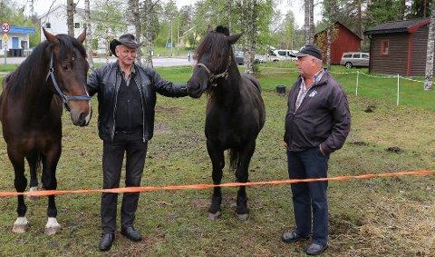 HEST: Johan Alexander Johansen, til venstre, er alltid på plass på Finnskogmart´n med hester til salgs. Her er han i samtale med hestekaren Øystein Sormbroen. Foto: Sverre Viggen