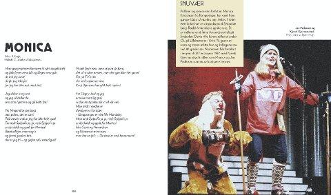 SYDPOLFARER PÅ REVY: Kjersti Gjermundrød som Monica Kristensen og Jan Pedersen som polarhund! Fra revy i 1987.foto: fra boka