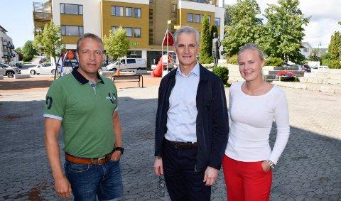 TID: Partileder Jonas Gahr Støre og Ap-kandidatene Morten Lafton og Synne Brørby Munkerud står sammen om innføring av et gratis skolemåltid. Det vil bare ta litt tid.