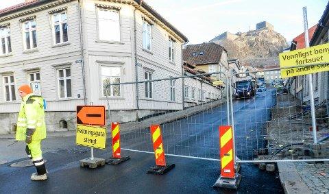 STENGT: Festningsgata er stengt igjen.