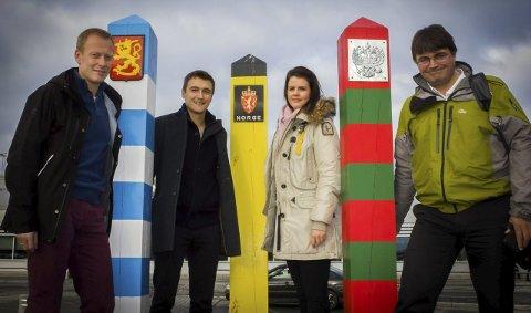 NABOBESØK: Knut-Erik Dybdal, Claude Rach, Heidi Andreassen og Remi Strand dro til Murmansk for å snakke sykkelritt.