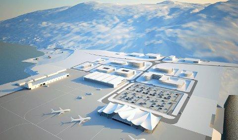 Skisse: Nordishavet lufthavn på Grøtnes slik arkitektene i Asplan Viak har sett det for seg. Illustrasjon: Asplan viak