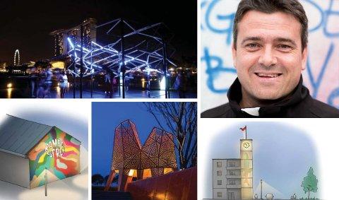 ER GIRA: Jan Santocono sier at byen kan få et helt annet preg hvis vi satser på å lyse opp byen i vinterhalvåret. Bildene er fra kommunens egen formingsveileder der skisser fra Harstad og andre byer er med for å illustrere mulig lyssetting av byen.