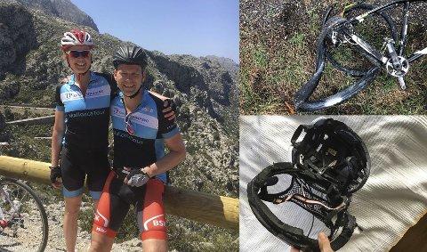 På Ahus: Stig Olsen ligger på Ahus med bruddskader og hans kone Cathrine Årstad Olsen ble forslått etter at syklistene ble meid i bakken av en bilist i Blaker på lørdag. Til høyre er bilder av Stigs knuste hjelm og sykkel.