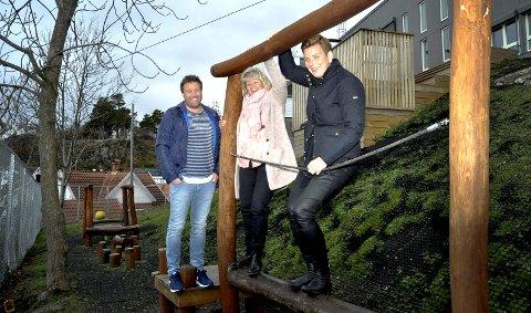 LilleSida: Paul Gundersen, Ingeborg Goplen og Henriette Fluer Vikre på balansebommen.