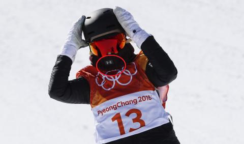 BRØT REGELENE: Silje Norendal kjørte med sponsorlogen tydelig under slopestylekonkurransen. Det likte IOC dårlig (Foto: Erik Johansen / NTB scanpix)